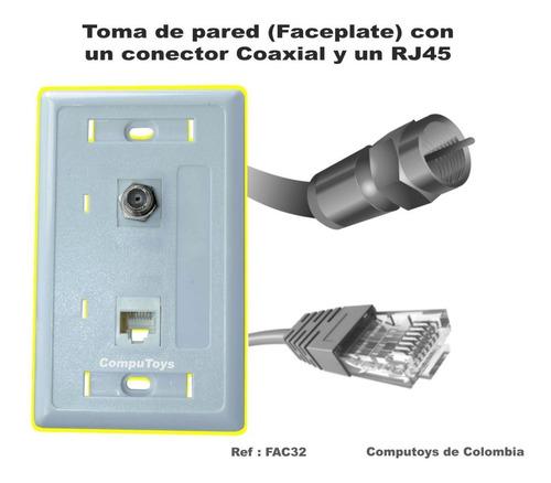 zfac32 rj-45 cat5e + 1 coaxial toma de pared computoys