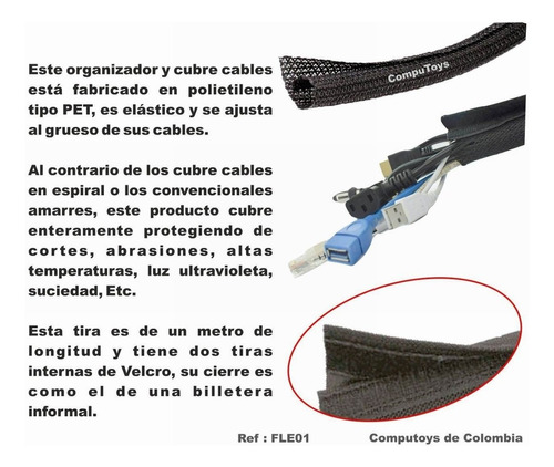 zfle01 organizador de cables tipo velcro 1 metro computoys