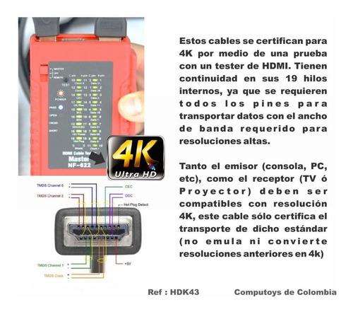 zhdk43 cable hdmi 4k 3 metros de longitud computoys