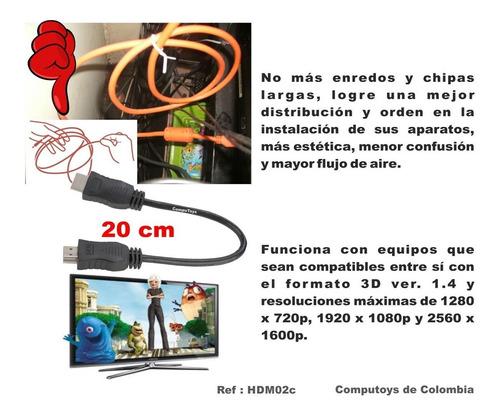 zhdm02c cable hdmi - hdmi muy corto 20 cm computoys