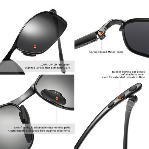 bb2fc34f86 Zhile Rectangular Polarizado Gafas De Sol Al Magnesio Ale - $ 42.648 ...
