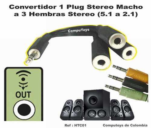 zhtc01 convertidor 3.5 plug 1 macho a 3 hembras computoys