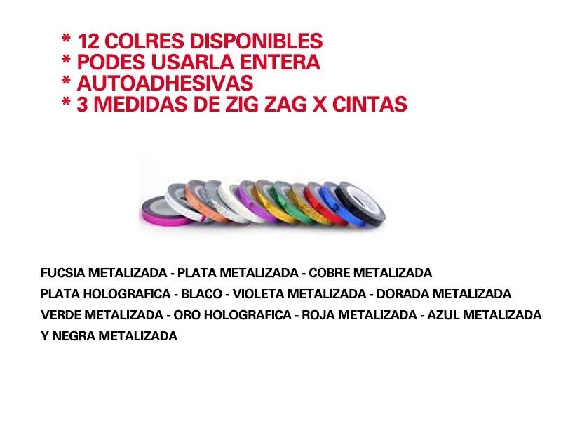 Zig Zag Cinta Metalica Autoadhesiva 7mts- Deco Uñas Nail Art - $ 30 ...