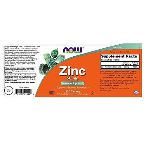 zinc 50mg 250 unidades importado de usa