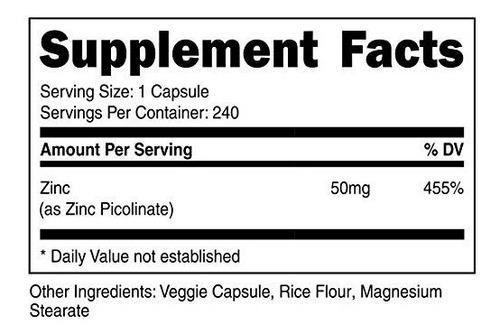 zinc picolinato 50mg 240 capsulas máxima absorción nutricost