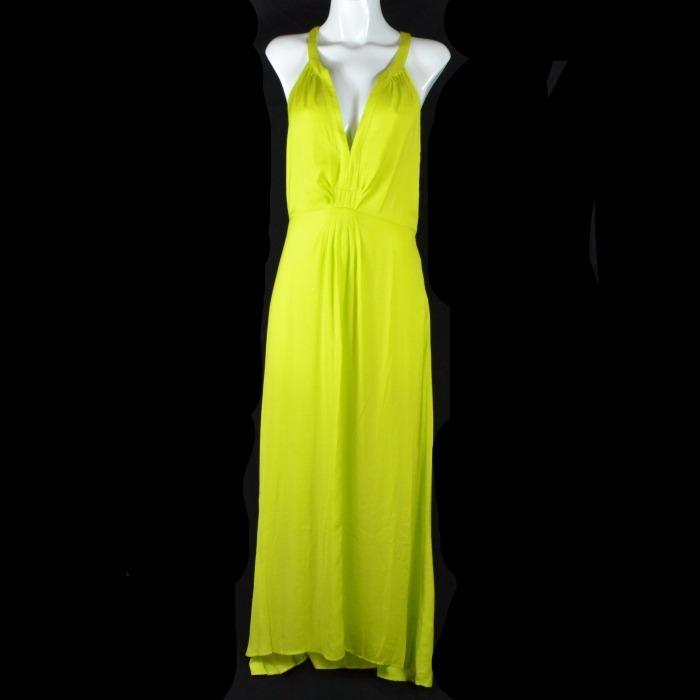 Vestido verde limon largo