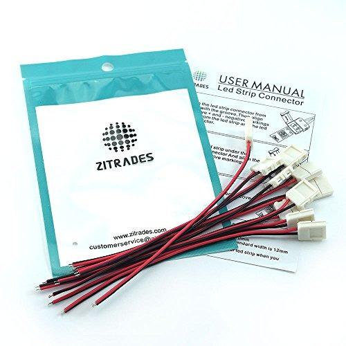 zitrades 10mm 2pin 10pcs conectores de la tira del led para