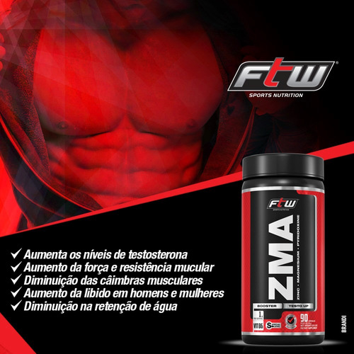 zma 90 cáps aumento da testosterona + bcaa best 120 cáps ftw