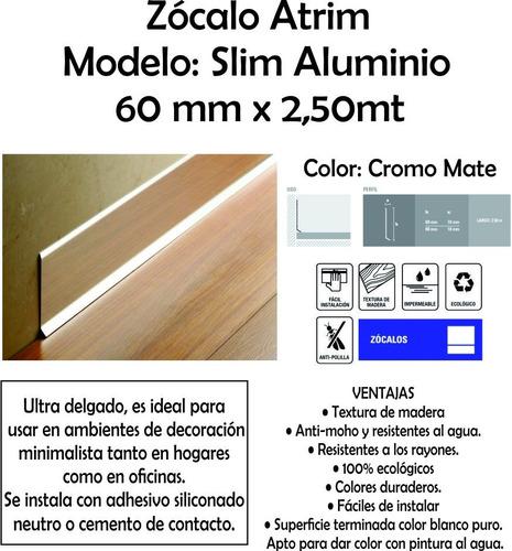 zócalo slim aluminio atrim 60mm x2,50 mt la plata