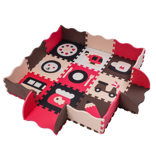 zoeshare 16piezas niños puzzle alfombra de juegos con valla