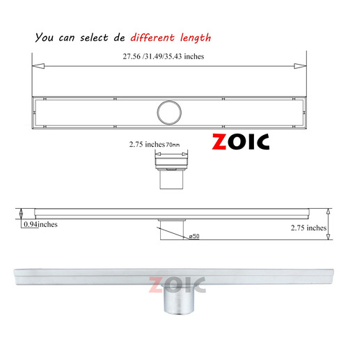 zoic 19.68/23.62/27.56/31.49/35.43 inches linear stealth til