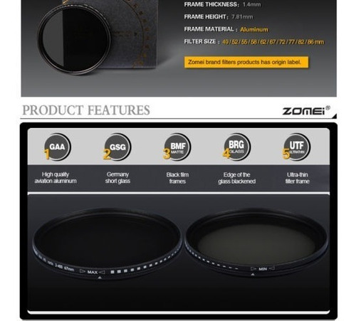 zomei 67mm densidad neutra fader nd variable ajustable filtr