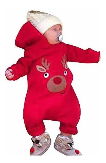 ZOMUSAR Infant Baby Boys Girl Christmas Cartoon Deer Printed Xmas Hooded Romper Jumpsuit Outfits