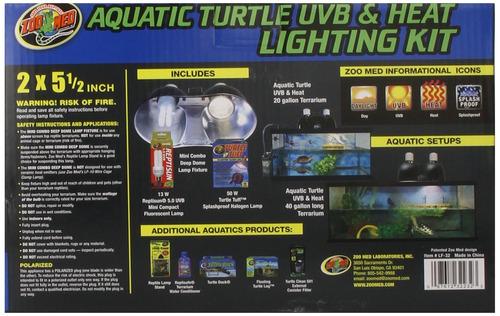 zoo med, juego de rayo de calor y uvb para tortuga acuáti