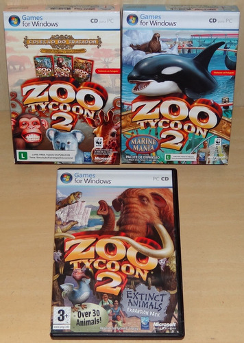 zoo tycoon 2 coleção tratador marine mania extinct animal pc