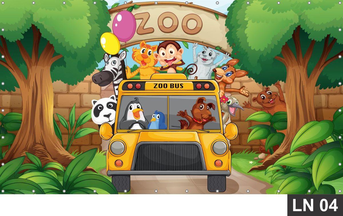 Zoo Zool 243 Gico Animais Painel 2 00x1 00 Festa Anivers 225 Rios