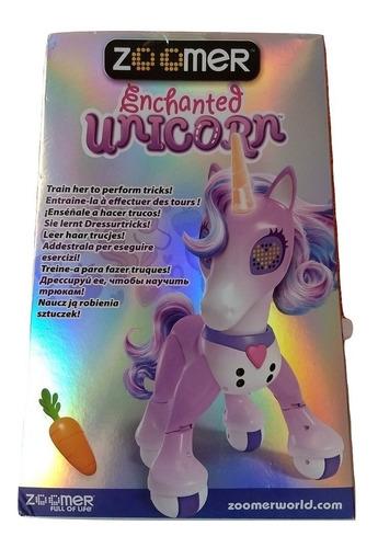 zoomer unicornio encantado cuerno luminoso baila y juega