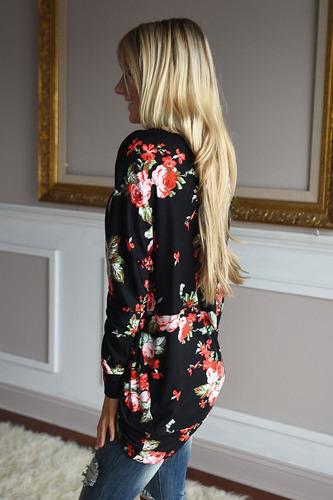 zoye chen mujeres kimono open front drape impreso floral.