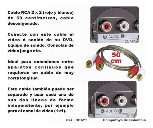 zrca25 cable rca 2x2 macho-macho 50cm qrca25q compu-toys