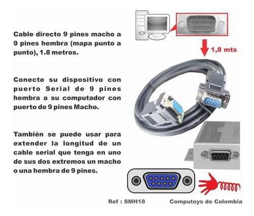zsmh18 cable db9 macho-hembra 9 pin 1.8m qsmh18q compu-toys