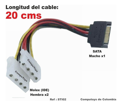 zsti02 cable de 1 sata macho a 2 ide hembra computoys