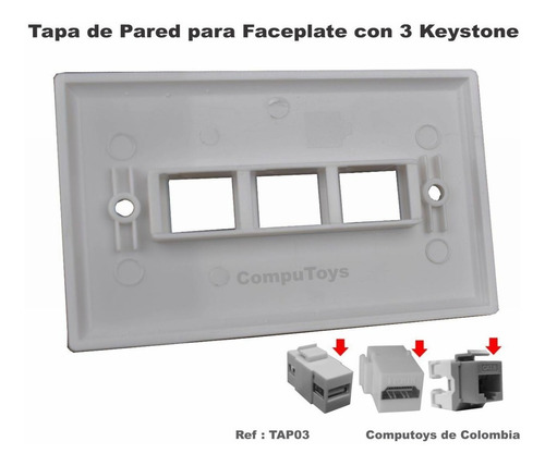 ztap03 tapa de pared wallplate para 3 keystones computoys