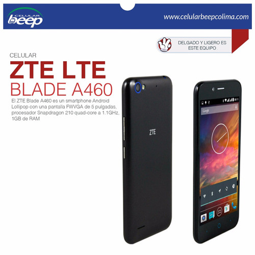 zte blade a460 5 8gb 8mp + 5mp frontal 1gbram