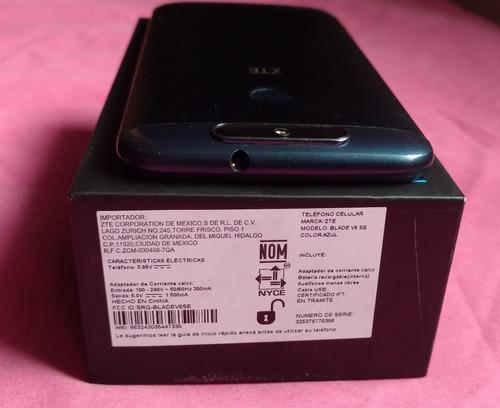 zte blade v8 se, azul, en caja, liberado, estética de 9.