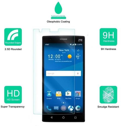 zte zmax 2 protector de pantalla de vidrio, d + envio gratis