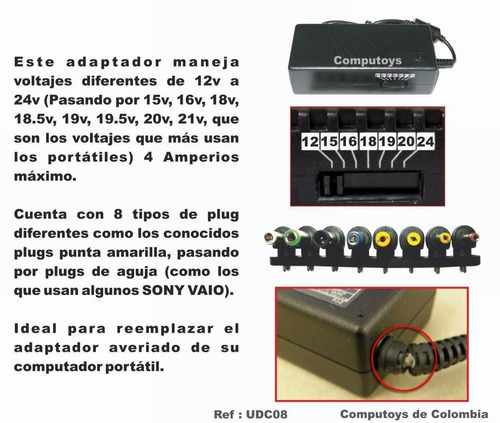 zudc08 cargador universal 12-24 voltio computoys