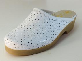 zapatos deportivos 11067 1a025 Zueco De Dama, Cuero Blanco, Para Enfermería, Fondo En Goma
