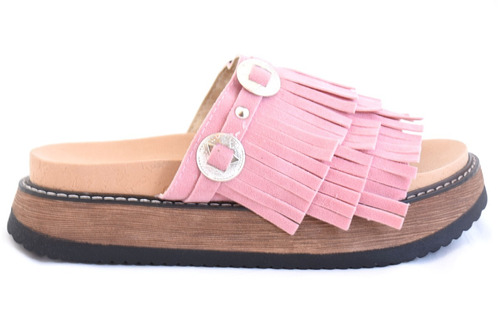 zueco per i piedi rosa con flecos