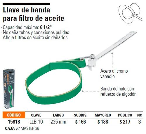 zuncho llave de banda filtro de aceite truper, agarre 6 1/2