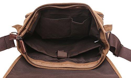 10b27ca967 Zuolunduo Vintage Messenger Bag Laptop Bag School Canvas Bag ...