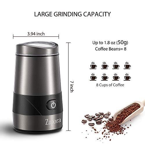 zupora molinillo café eléctrico + cuchillas acero inoxidable