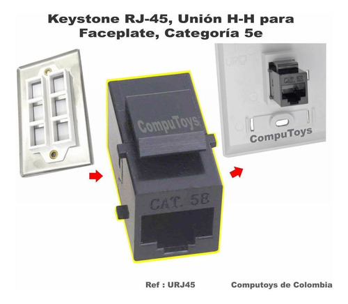 zurj45 keystone cat5 rj-45 unión hembra-hembra computoys